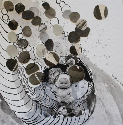 Blatt 39 - Geburt - 25 x 25 cm (c) Collage von Susanne Haun
