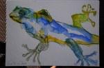 Gecko Vers. 2 - Aquarell und Pastellstifte auf Hahnemühle Burgund (c) Zeichnung von Susanne Haun