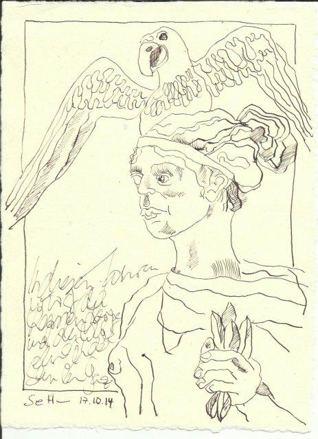 Walhalla Engel (c) Zeichnung von Susanne Haun