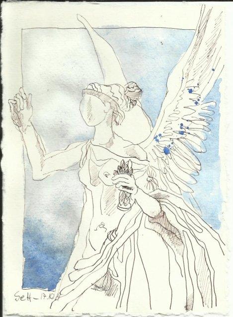 Walhalla Engel für Monja (c) Zeichnung von Susanne Haun