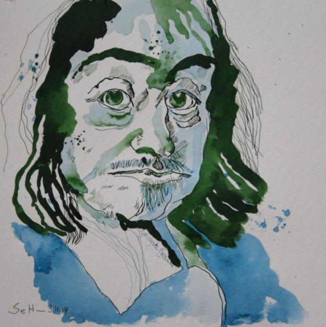 Meine Vorstellung von Descartes nach Franz Hals (c) Zeichnung von Susanne Haun für Blog