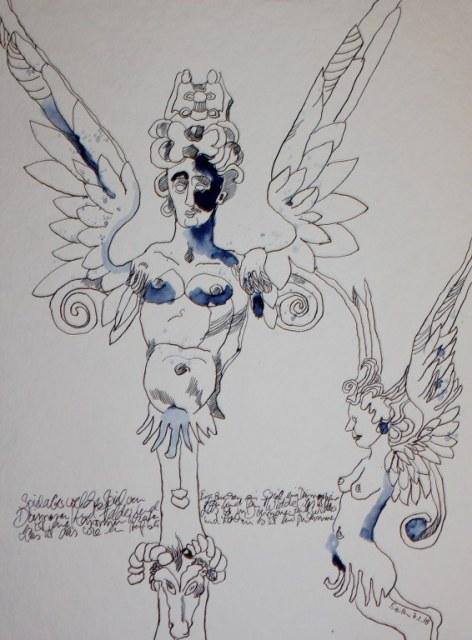 Im Kunstgewerbemuseum (c) Zeichnung von Susanne Haun