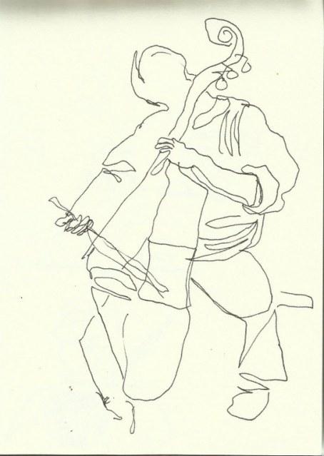 Im Konzerthaus  - Kontrabassist (c) Zeichnung von Susanne Haun 0007