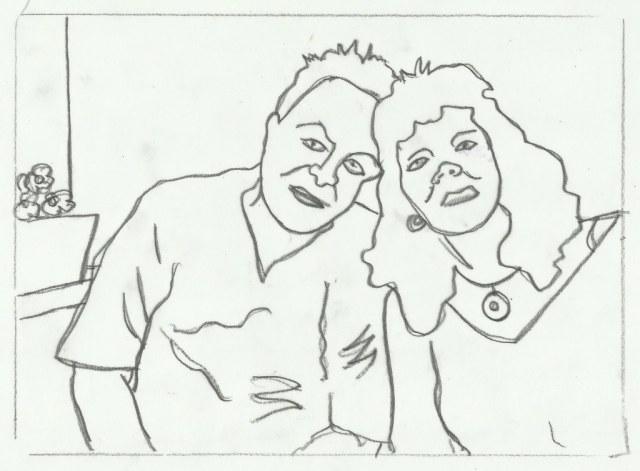 Ulli und ich (c) Linolschnitt von Susanne Haun 0002