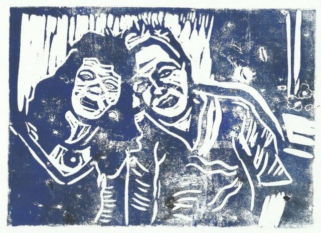 Ulli und ich (c) Linolschnitt von Susanne Haun 0005
