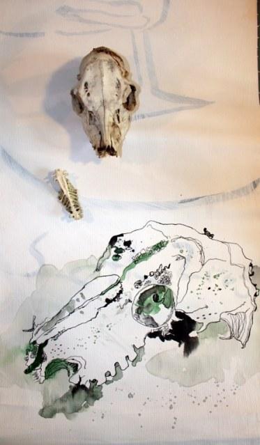 Entstehung Leinwand - Der Tod (c) Susanne Haun