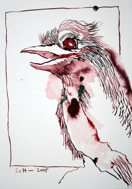 ogel im Zoo (c) Zeichnung von Susanne Haun