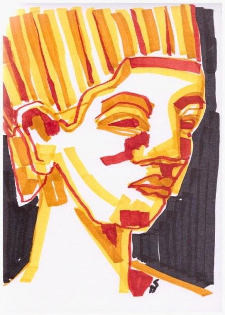 Norfretete (c) Zeichnung mit Marker von Susanne Haun