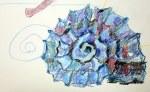 Muschel mit blauen Buntstiften auf Hahnemühle Antik Ingres (c) Zeichnung von Susanne Haun