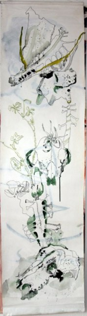 Der Tod - 120 x 30 cm (c) Zeichnung auf Leinwand von Susanne Haun