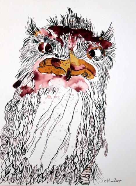 Eule - 40 x 30 cm - Tusche auf Bütten (c) Zeichnung von Susanne Haun