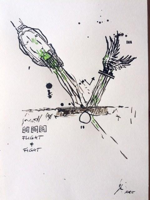 Weggegossen No. 11  (c) Zeichnung von Jürgen Küster