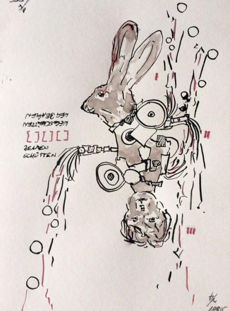 Weggegossen No. 15  (c) Zeichnung von Jürgen Küster