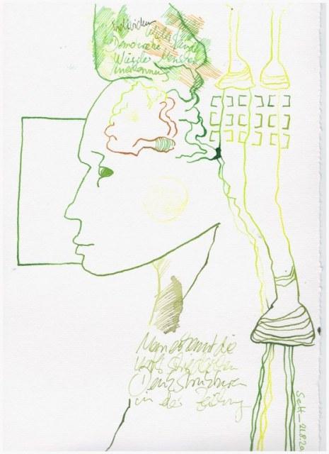 Weggegossen No. 22 a (c) Zeichnung von Susanne Haun