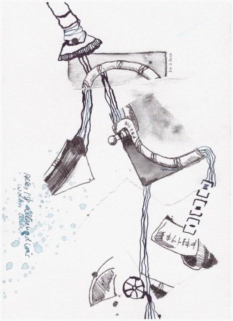 Weggegossen No. 4  (c) Zeichnung von Susanne Haun