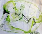 Vor der Geburt (c) Entstehung Zeichnung auf Leinwand von Susanne Haun
