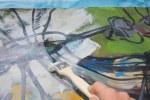 Durch das Gesso scheinen die Linien der Libelle durch (c) Foto von Susanne Haun