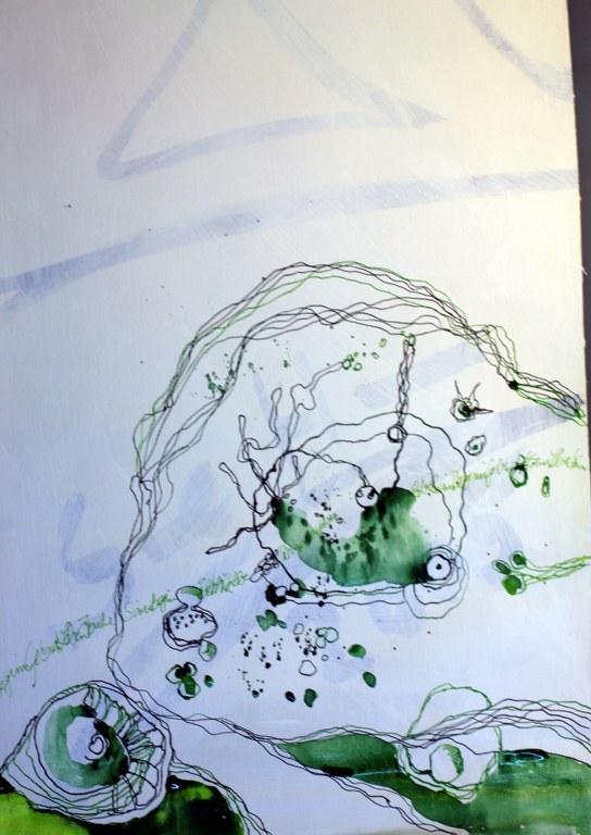 Aus dem Chaos entsteht die Geburt (c) Entstehung Zeichnung auf Leinwand von Susanne Haun