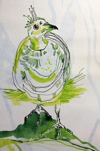 Junges Leben (c) Entstehung Zeichnung auf Leinwand von Susanne Haun