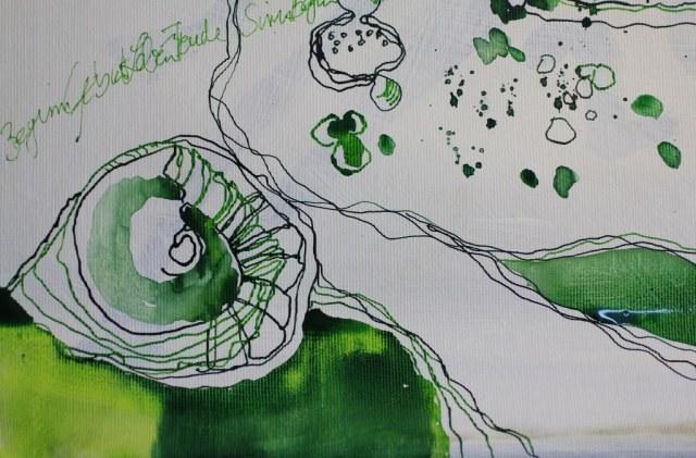 Runde Forment (c) Entstehung Zeichnung auf Leinwand von Susanne Haun