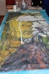Ich zeichne mit boesner Scene Arcyl weiß über das Gesso (c) Foto von Susanne Haun