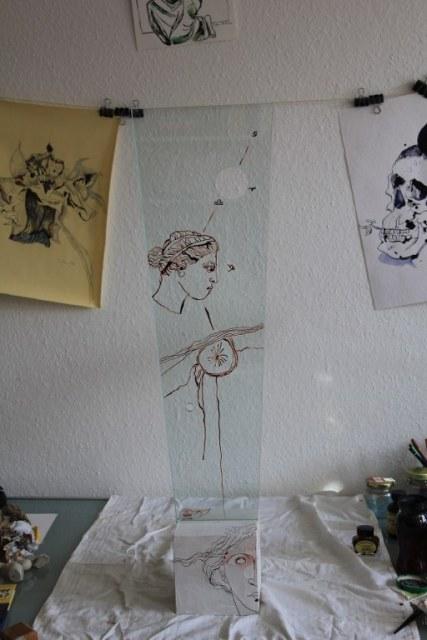 Venus - Zeichnung auf Glas (c) Objekt von Susanne Haun