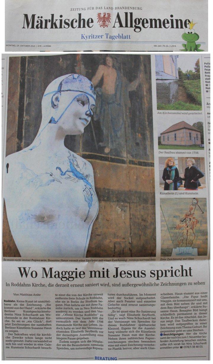 Märkische Allgemeine 19.10.2015 - Artikel zur Ausstellung von Susanne Haun in der Roddahner Kirche