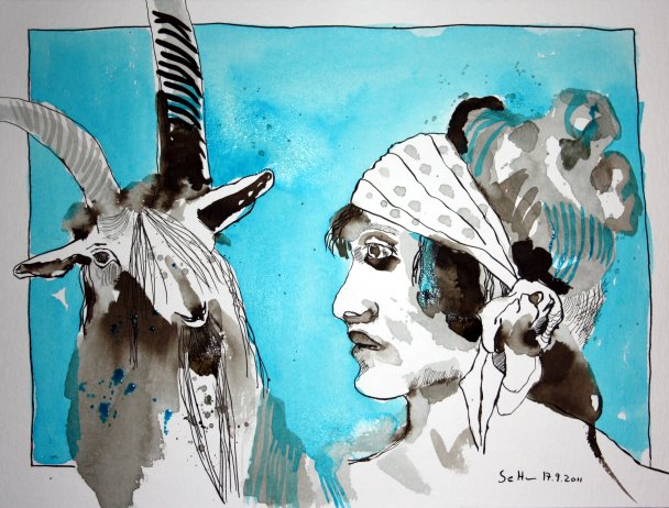 Von Angesicht zu Angesicht (c) Zeichnung von Susanne Haun