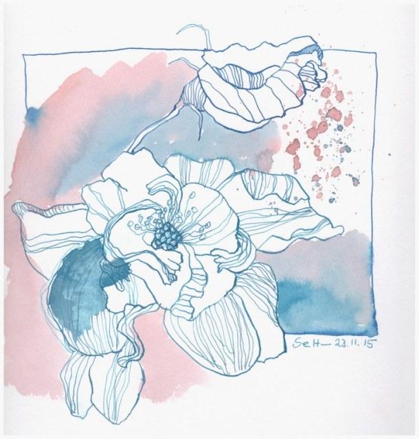 Blaue Blume (c) Zeichnung von Susanne Haun