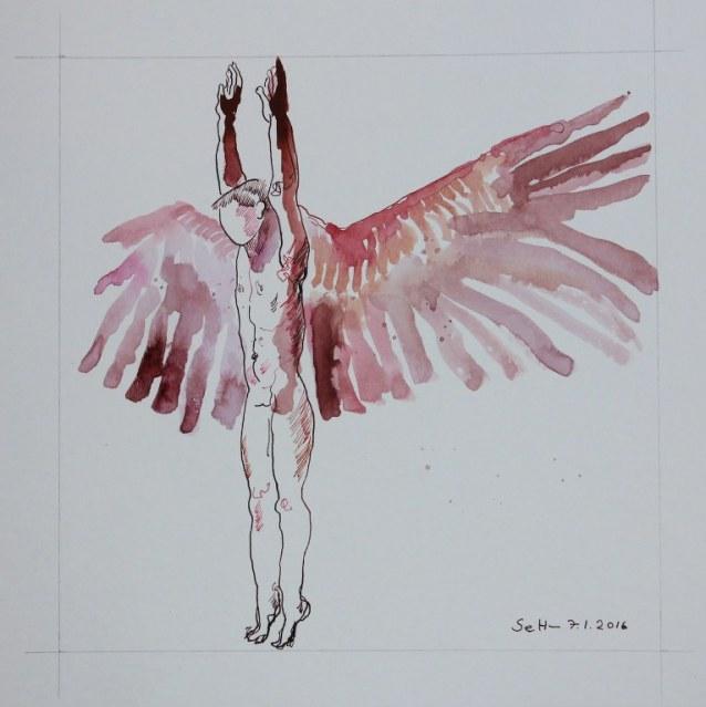 Der Traum vom Fliegen - Freiheit (c) Zeichnung von Susanne Haun