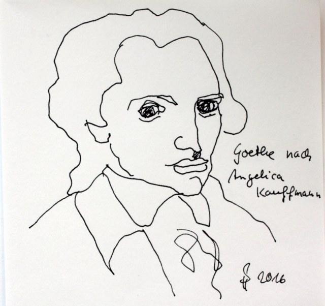 Goethe nach Kaufmann (c) Zeichnung von Susanne Haun
