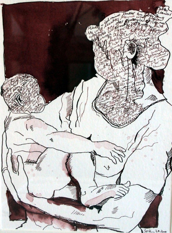 Mutter und Kind (c) Zeichnung von Susanne Haun