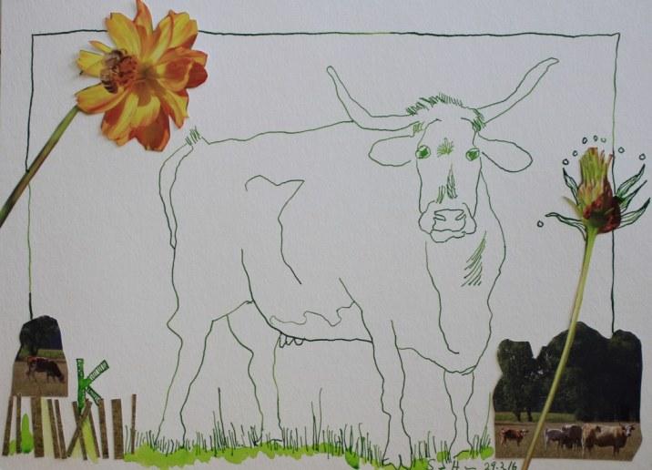 Sehgewohnheiten der Kleinsten – Die Kuh - Version 2 (c) Collage von Susanne Haun