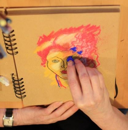 7a. Schritt - Pastell Portrait (c) Zeichnung von Susanne Haun