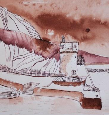 Gardasee Version 1 - 30 x 30 cm (c) Zeichnung von Susanne Haun