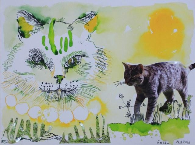 Sehgewohnheiten der Kleinsten - Katze (c) Collage von Susanne Haun