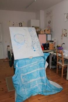 Eine provisorische Staffelei meiner Leinwand auf der Druckpresse (c) Foto von Susanne Haun