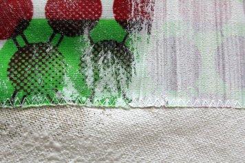 Entstehung Veritable Wax Block Prints Hitarget 1315704 - 125 x 125 cm (c) Zeichnung auf Leinwand von Susanne Haun