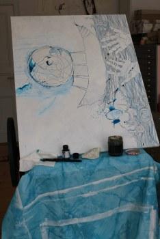 Entstehung von Dantes Barke des Vergessens (c) Zeichnung von Susanne Haun