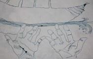 Ausschnitt Dantes Barke des Vergessens (c) Zeichnung auf Leinwand 80 x 100 cm