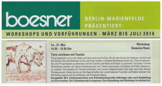 Boesner Workshop Tiere mit Tusche zeichnenl - Susanne Haun