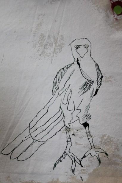 Entstehung Rabe Detail Veritable Wax Block Prints Hitarget 1315704 - 125 x 125 cm (c) Zeichnung auf Leinwand von Susanne Haun