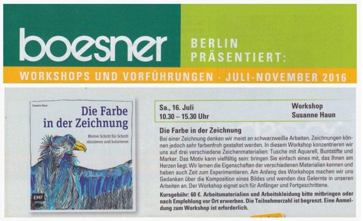 2016 Workshop die Farbe in der Zeichnung bei Boesner - Susanne Haun