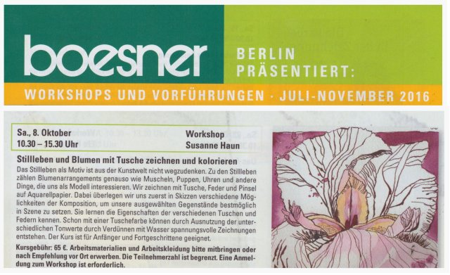 2016 Workshop Stillleben bei Boesner - Susanne Haun
