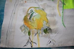 Entstehung des 2. Rabe Detail Veritable Wax Block Prints Hitarget 1315704 - 125 x 125 cm (c) Zeichnung auf Leinwand von Susanne Haun
