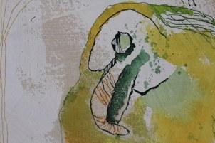 Detail 2. Rabe Veritable Wax Block Prints Hitarget 1315704 - 125 x 125 cm (c) Zeichnung auf Leinwand von Susanne Haun