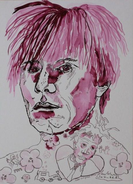 Andy Warhol trifft auf Basquiat - 40 x 30 cm - Tusche auf Bütten (c) Zeichnung von Susanne Haun