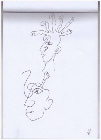 Portraits in einer Linie (c) Zeichnung von Susanne Haun