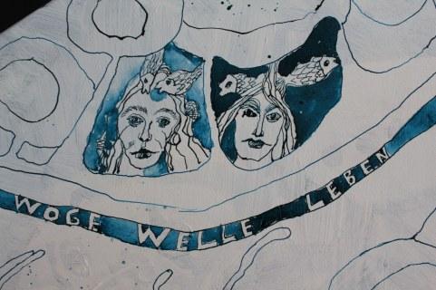 Entstehung Dantes Barke der Wellen und Wogen - 70 x 50 cm (c) Zeichnung auf Leinwand von Susanne Haun