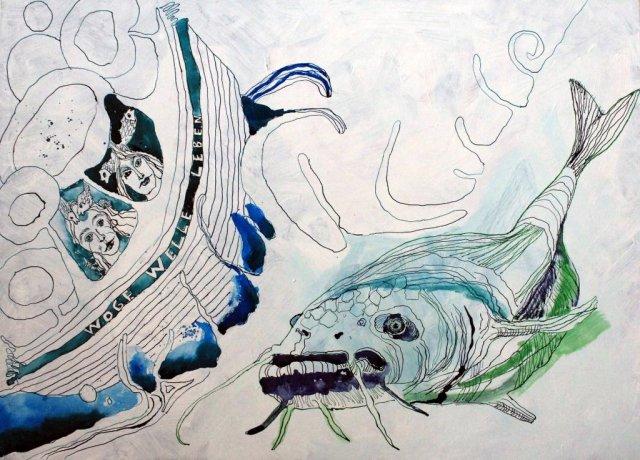 Entstehung Dantes Barke der Wellen und Wogen – 70 x 50 cm (c) Zeichnung auf Leinwand von Susanne Haun